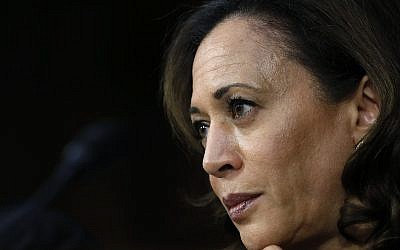 In this September 6, 2018, file photo, US Senator Kamala Harris, a California Democrat, listens as US President Donald Trump's Supreme Court nominee, Brett Kavanaugh, answers her question during the third day of Kavanaugh's Senate Judiciary Committee confirmation hearing on Capitol Hill in Washington. (AP Photo/Jacquelyn Martin, File)