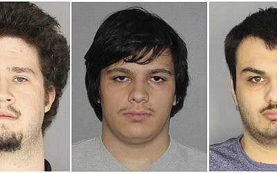 This combination of three Jan. 22, 2019, photographs released by the Greece Police Department in Greece, N.Y., shows Brian Colaneri, from left, Andrew Crysel and Vincent Vetromile. Authorities said that the three men were charged with plotting to attack a rural upstate New York Muslim community with explosives. The three Rochester, NY-area men are accused of plotting to attack Islamberg, a 60-acre Muslim enclave west of the Catskills, according to court papers. (Greece Police Department via AP)