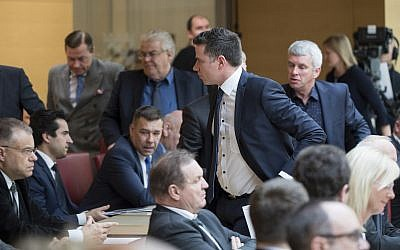More than a dozen lawmakers from the far-right Alternative for Germany walked out of Bavarian state parliament during a tribute to Holocaust victims at the Bavarian Parliament in Munich, Germany, January 23, 2019. (Peter Kneffel/dpa via AP)