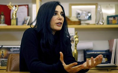 Lebanese director Nadine Labaki speaks during an interview in Beirut, on January 22, 2019. (AP Photo/Bilal Hussein)