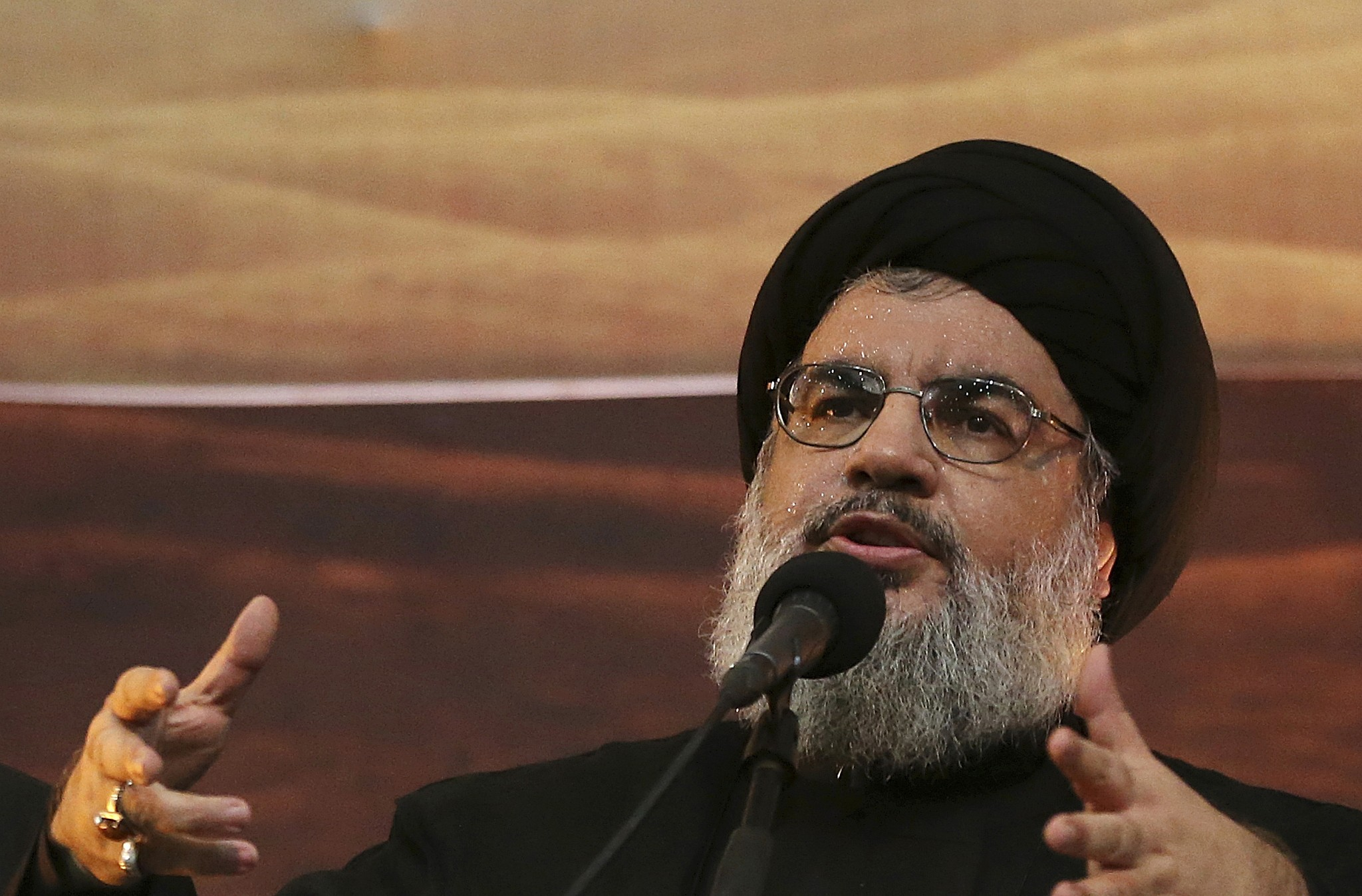 Hezbollah leader Hassan Nasrallah addresses supporters in a southern suburb of Beirut Lebanon