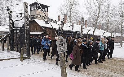 Former prisoners and their guests arrive for the ceremony marking the 74th anniversary of the liberation of KL Auschwitz-Birkenau, in Oswiecim, Poland, January 27, 2019. (Czarek Sokolowski/AP)