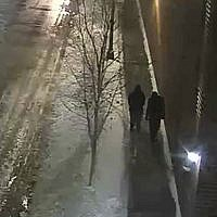 """This image provided by the Chicago Police Department and taken from surveillance video shows two people of interest in an attack on """"Empire"""" actor Jussie Smollett walking along a street in Chicago, on January 29, 2019. (Courtesy of Chicago Police Department via AP)"""