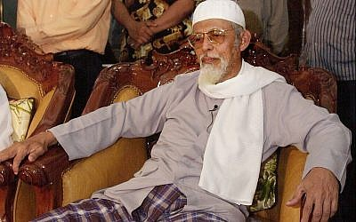 Militant Islamic preacher Abu Bakar Bashir is interviewed by the Associated Press in this Sept. 23, 2002 photo in Cianjur, West Java, Indonesia. (AP/Achmad Ibrahim)