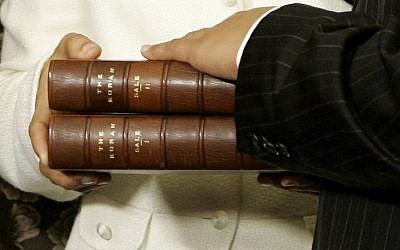 The two volume Koran once owned by Thomas Jefferson that will be used in the swearing in ceremony of incoming Congress woman Rashida Tlaib, seen here in the ceremony of Rep. Keith Ellison, D-Minn., the first Muslim elected to Congress, during his swearing in ceremony, Thursday, Jan. 4, 2007, at the U.S. Capitol in Washington. (AP Photo/Haraz N. Ghanbari)