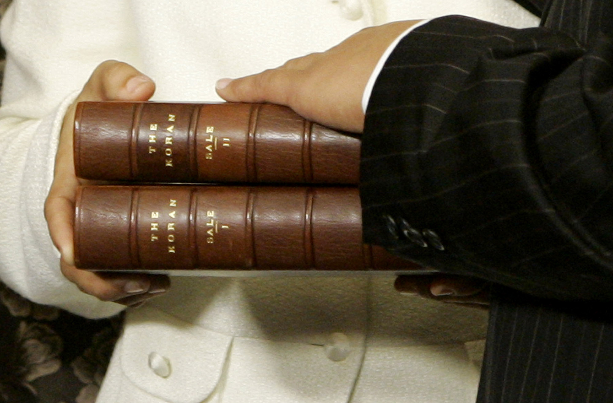 The two volume Koran once owned by Thomas Jefferson that will be used in the swearing in ceremony of incoming Congress woman Rashida Tlaib seen here in the ceremony of Rep. Keith Ellison D-Minn. the first Muslim elected to Congress during his swearing