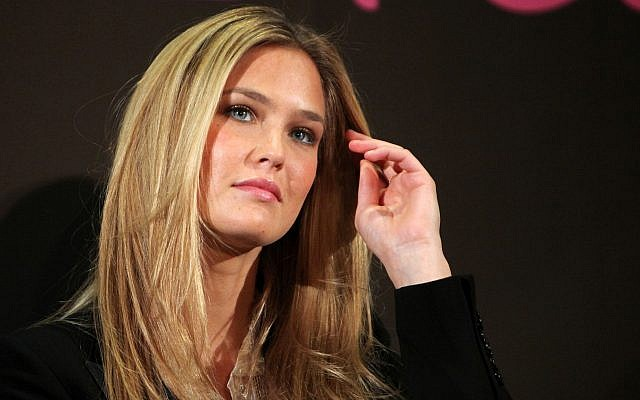 Israeli model Bar Refaeli gestures during a press conference, in Paris, March 23, 2010. (Thibault Camus/AP)