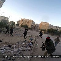 Photo showing a deadly attack by Islamic State terrorists on an Egyptian police checkpoint, posted on a file sharing website January 11, 2017. (Islamic State Group in Sinai, via AP)