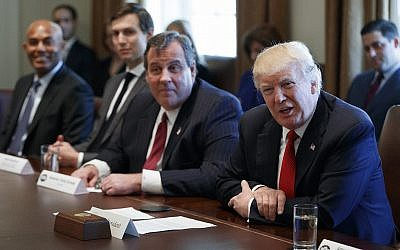 US President Donald Trump speaks during an opioid and drug abuse listening session on March 29, 2017, in the Cabinet Room of the White House in Washington. From left are, former New York Yankees pitcher Mariano Rivera, Senior Adviser Jared Kushner, New Jersey governor Chris Christie and Trump. (AP Photo/Evan Vucci)