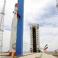 This picture, released by the official website of the Iranian Defense Ministry on July 27, 2017, claims to show the Simorgh satellite-carrying rocket at Imam Khomeini National Space Center, Iran. (Iranian Defense Ministry via AP)