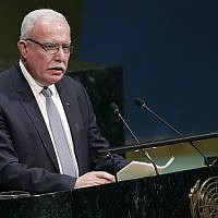 Palestinian Authority Foreign Minister Riyad al-Maliki addresses the General Assembly prior to a vote on December 21, 2017, at United Nations headquarters. (AP Photo/Mark Lennihan)