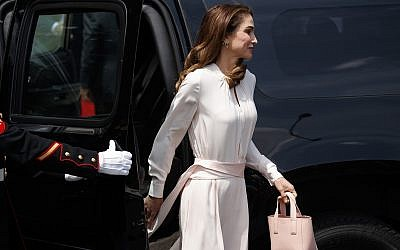 Queen Rania arrives for a meeting with US President Donald Trump and first lady Melania Trump at the White House, on June 25, 2018, in Washington. (AP Photo/Evan Vucci)