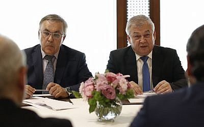 Russia's special presidential envoy to Syria Alexander Lavrentiev, right, and Russian Deputy Foreign Minister Sergei Vershinin, center, in Beirut, Lebanon, July 26, 2018 (AP Photo/Hassan Ammar/File)