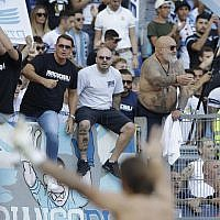 Illustrative: Lazio supporters celebrate at the end of a Serie A soccer match between Lazio and Genoa at Rome's Olympic stadium, September 23, 2018. (AP/Alessandra Tarantino)