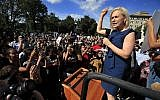 Sen. Kirsten Gillibrand, Democrat of New York, speaks at a rally against Supreme Court nominee Brett Kavanaugh at the Supreme Court in Washington, October 4, 2018. (AP Photo/Manuel Balce Ceneta)