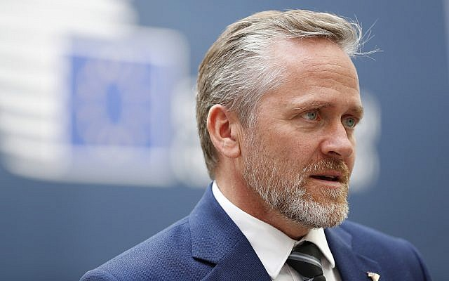 Danish Foreign Minister Anders Samuelsen speaks with the media at the conclusion of an EU-ASEM summit in Brussels, October 19, 2018. (Alastair Grant/AP)