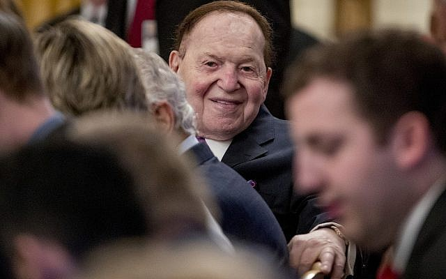 Las Vegas Sands Corporation Chief Executive and Republican mega donor Sheldon Adelson sits in the audience before President Donald Trump arrives for a Medal of Freedom ceremony in the East Room of the White House in Washington, Friday, Nov. 16, 2018. Adelson's wife Miriam Adelson received a Medal of Freedom. (AP Photo/Andrew Harnik)