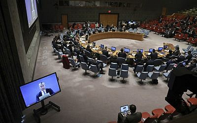 File: Nickolay Mladenov, left, United Nations special coordinator for the Middle East peace process, briefs the United Nations Security Council in a video conference, Monday November 19, 2018 at UN headquarters. (AP Photo/Bebeto Matthews)