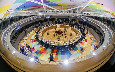 European Union leaders attend a round table meeting at an EU summit in Brussels, December 14, 2018. (Stephanie Lecocq, Pool Photo via AP)