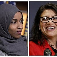 This combination of 2018 photos shows Representatives Ilhan Omar (Democrat-Minnesota), left, and Rashida Tlaib (Democrat-Michigan), in Washington. (AP Photo/Carolyn Kaster,)
