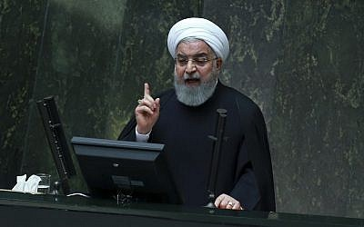 Iranian President Hassan Rouhani speaks as he submits next year's budget bill to parliament in Tehran, Iran, on December 25, 2018. (AP Photo/Vahid Salemi)
