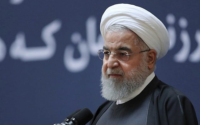 Iranian President Hassan Rouhani speaks in Tehran, Iran, January 10, 2019 (Iranian Presidency Office via AP)