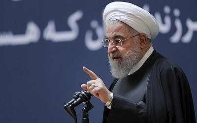Iranian President Hassan Rouhani speaks at a ceremony to mark the second anniversary of the death of former Iranian president Akbar Hashemi Rafsanjani, in Tehran, Iran, on January 10, 2019. (Iranian Presidency Office via AP)