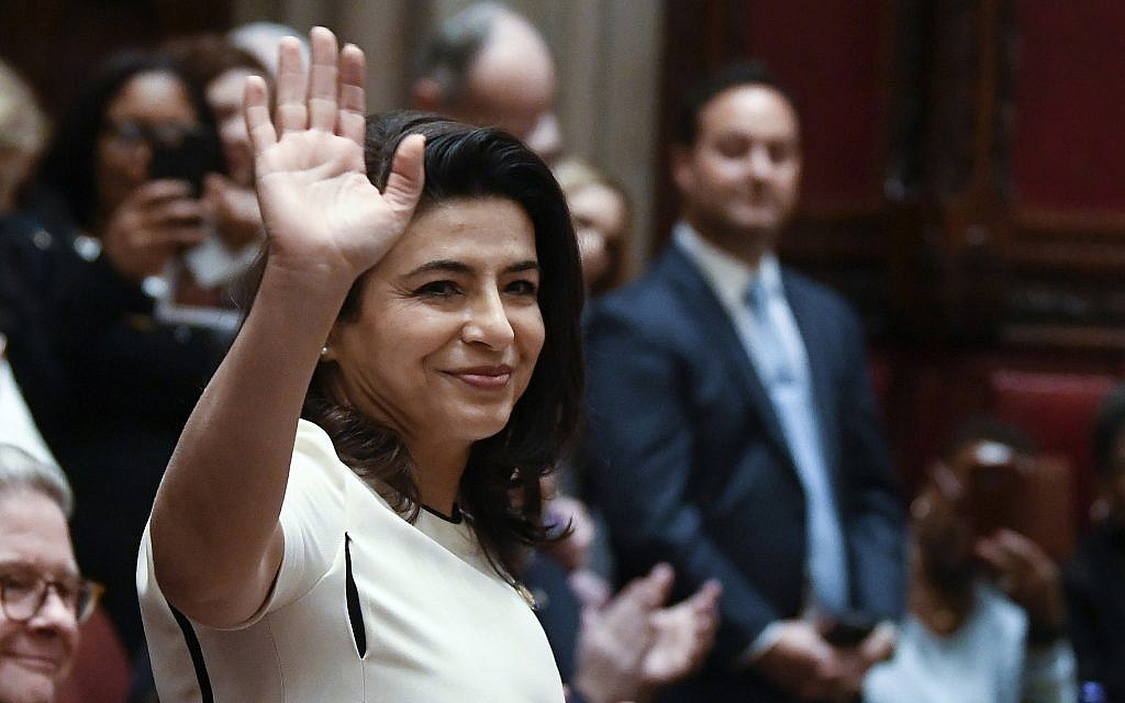 Freshman Sen. Anna Kaplan, Democrat, Mineola, is introduced during opening day of the legislative session in Albany, NY on January 9, 2019. (AP Photo/Hans Pennink, File)