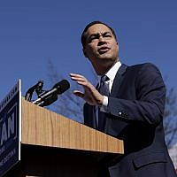 Former San Antonio Mayor and Housing and Urban Development Secretary Julian Castro speaks during an event where he announced his decision to seek the 2020 Democratic presidential nomination, Jan. 12, 2019, in San Antonio. (AP Photo/Eric Gay)
