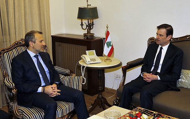 Lebanese Foreign Minister Gibran Bassil, left, meets with David Hale, US Under Secretary of State for Political Affairs, at the Lebanese foreign ministry, in Beirut, Lebanon on Jan. 14, 2019. (AP Photo/Bilal Hussein)