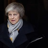 Britain's Prime Minister Theresa May leaves a cabinet meeting at Downing Street in London, January 15, 2019. (AP Photo/Frank Augstein)