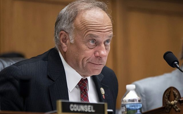 """In this June 8, 2018, file photo, U.S. Rep. Steve King, R-Iowa, listens during a hearing on Capitol Hill in Washington. On Tuesday, Jan. 15, 2019, the House voted 416-1 for a resolution repudiating King's words expressing puzzlement about why terms like """"white nationalist"""" are offensive. (AP Photo/J. Scott Applewhite, File)"""