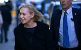 "Sen. Kirsten Gillibrand arrives at the Ed Sullivan Theater‎ to tape an appearance on ""The Late Show with Stephen Colbert"" Tuesday, Jan. 15, 2019, in New York. (AP Photo/Craig Ruttle)"
