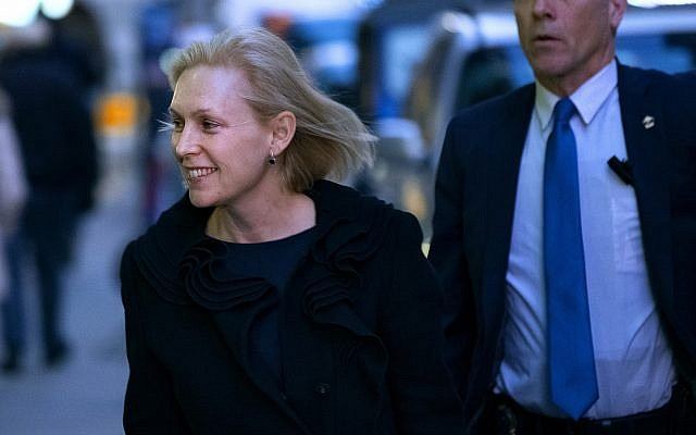 """Sen. Kirsten Gillibrand arrives at the Ed Sullivan Theater to tape an appearance on """"The Late Show with Stephen Colbert"""" Tuesday, Jan. 15, 2019, in New York. (AP Photo/Craig Ruttle)"""