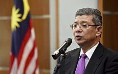 Malaysia Foreign Minister Saifuddin Abdullah speaks during a press conference in Putrajaya, Malaysia, Jan. 16, 2019 (AP Photo/Yam G-Jun)