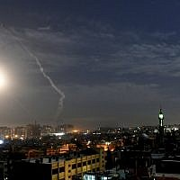 Illustrative. This photo released by the Syrian official news agency SANA, shows missiles flying into the sky near international airport, in Damascus, Syria, January 21, 2019. (SANA via AP)
