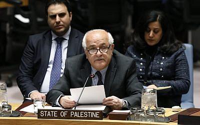 Palestinian Ambassador Riyad Mansour addresses the United Nations Security Council, at UN headquarters, January 22, 2019. (AP/Richard Drew)