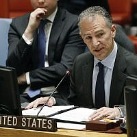 Acting Permanent Representative of the United States Jonathan Cohen addresses the United Nations Security Council, at UN headquarters, on January 22, 2019. (AP Photo/Richard Drew)