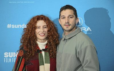 "Director Alma Har'el, left, and actor Shia LaBeouf pose at the premiere of ""Honey Boy"" during the 2019 Sundance Film Festival, Friday, Jan. 25, 2019, in Park City, Utah. (Danny Moloshok/Invision/AP)"