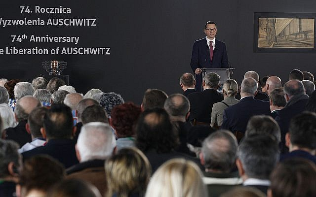 Polish Prime Minister Mateusz Morawiecki speaks at a commemoration event at the former Nazi concentration and extermination camp, Auschwitz, on International Holocaust Remembrance Day in Oswiecim, Poland, January 27, 2019.(AP Photo/Czarek Sokolowski)