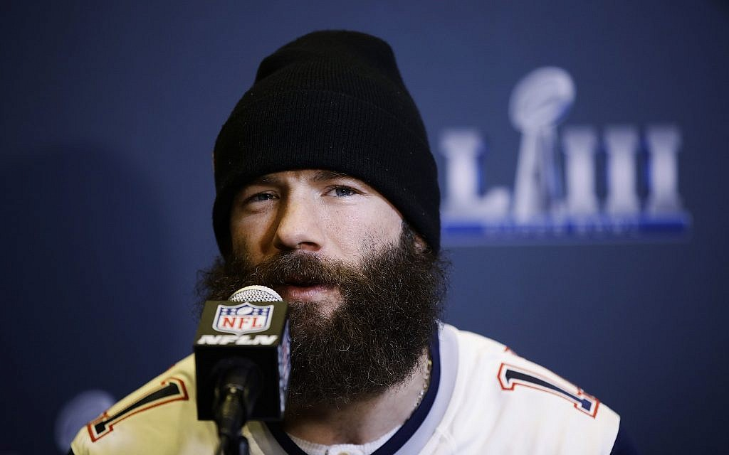 491dd19c8ac48e New England Patriots' Julian Edelman speaks with members of the media  during a news conference
