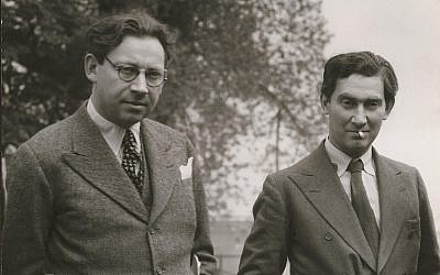 Alexander Korda, left, with his brother Vincent Korda. (Courtesy BFI National Archive)