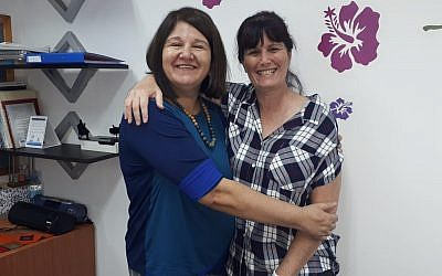 Ety Siton, left, director of the Kfar Saba branch of ERAN, also oversees the Toronto volunteers. She is pictures with Sigal Almog, co-founder of Toronto's ERAN project. (Courtesy)