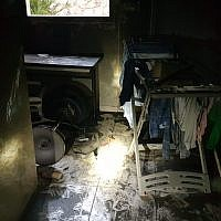 Fire damage following a deadly blaze in building in Bat Yam, January 15, 2019. (Israel Fire and Rescue Service)