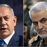 Composite: Prime Minister Benjamin Netanyahu, left, and Revolutionary Guards Gen. Qassem Soleimani (Yonatan Sindel/Flash90, Office of the Iranian Supreme Leader via AP)