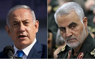 Composite: Prime Minister Benjamin Netanyahu, left, and Revolutionary Guards Gen. Qassem Soleimani (Yonatan Sindel/Flash90, Office of the Iranian Supreme Leader via AP)