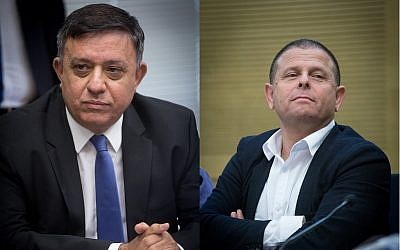 Composite image of Labor Party chairman Avi Gabbay, left, and Labor Party Knesset Member Eitan Cabel. (Miriam Alster/Flash90)