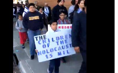 Members of Church of Jesus Christ Temple Philadelphia in Salinas California march on January 27, 2019 to mark International Holocaust Memorial Day (Screencapture/Twitter)
