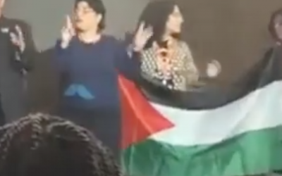 Pro-Palestinian protesters at Creating Change, an LGBTQ conference in Detroit, on January 24, 2019. (Screenshot from YouTube)