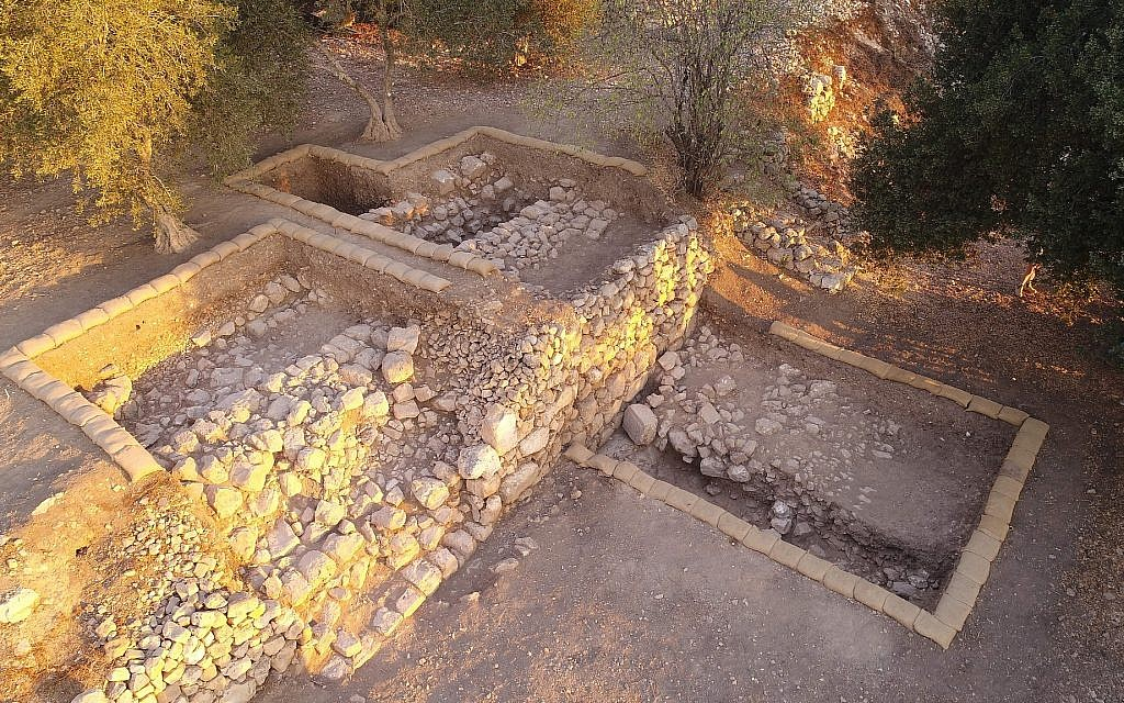 An aerial view of Area C, a broad terrace on the lower eastern slope, at the end of the 2017 season, looking north. (Shmunis Family Excavations at Kiriath-jearim)